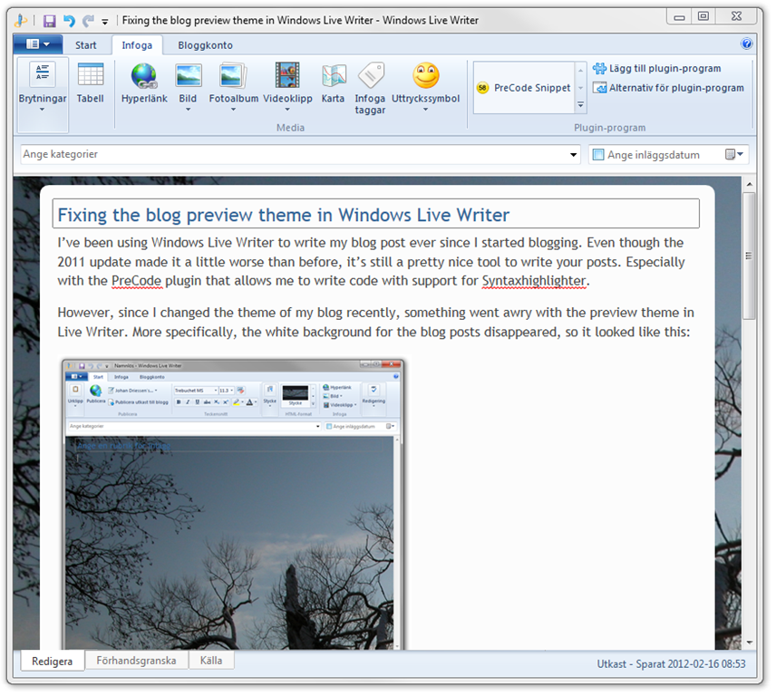 Fixing The Blog Preview Theme In Windows Live Writer Johan