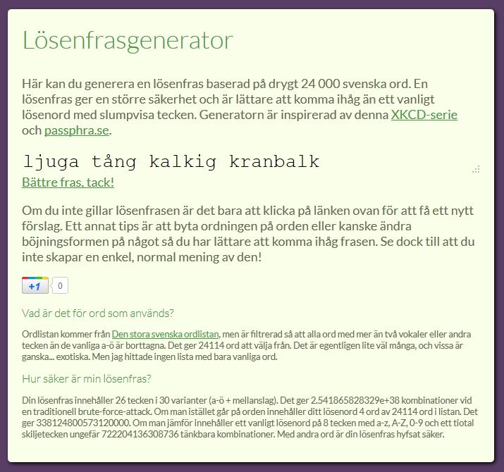 Pass phrase generator in Swedish   Johan Driessen