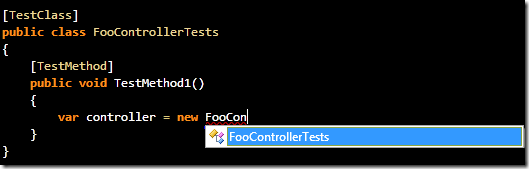 No, stupid Intellisense! I don't want to create an instance of the test class!